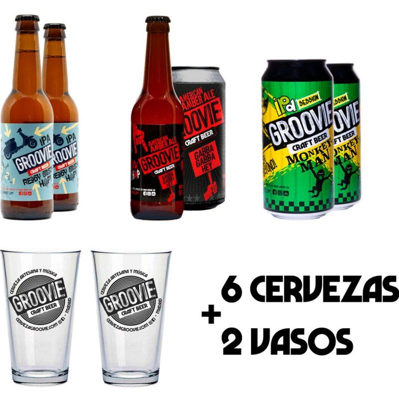 Pack cerveza y vaso
